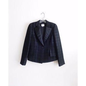 Armani Collezioni Black Wool Check Blazer sz 6 NWT